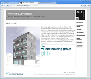 Example of web design, property developer website