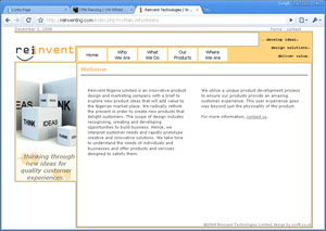 Example of web design, technology company